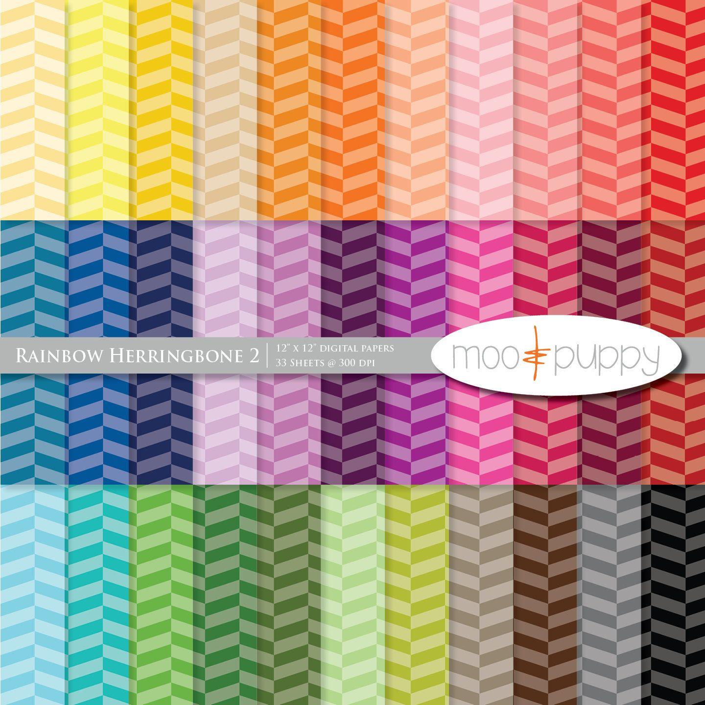 Scrapbook ideas rainbow - Digital Scrapbook Paper Pack Rainbow Herringbone 2 Tinted Sale