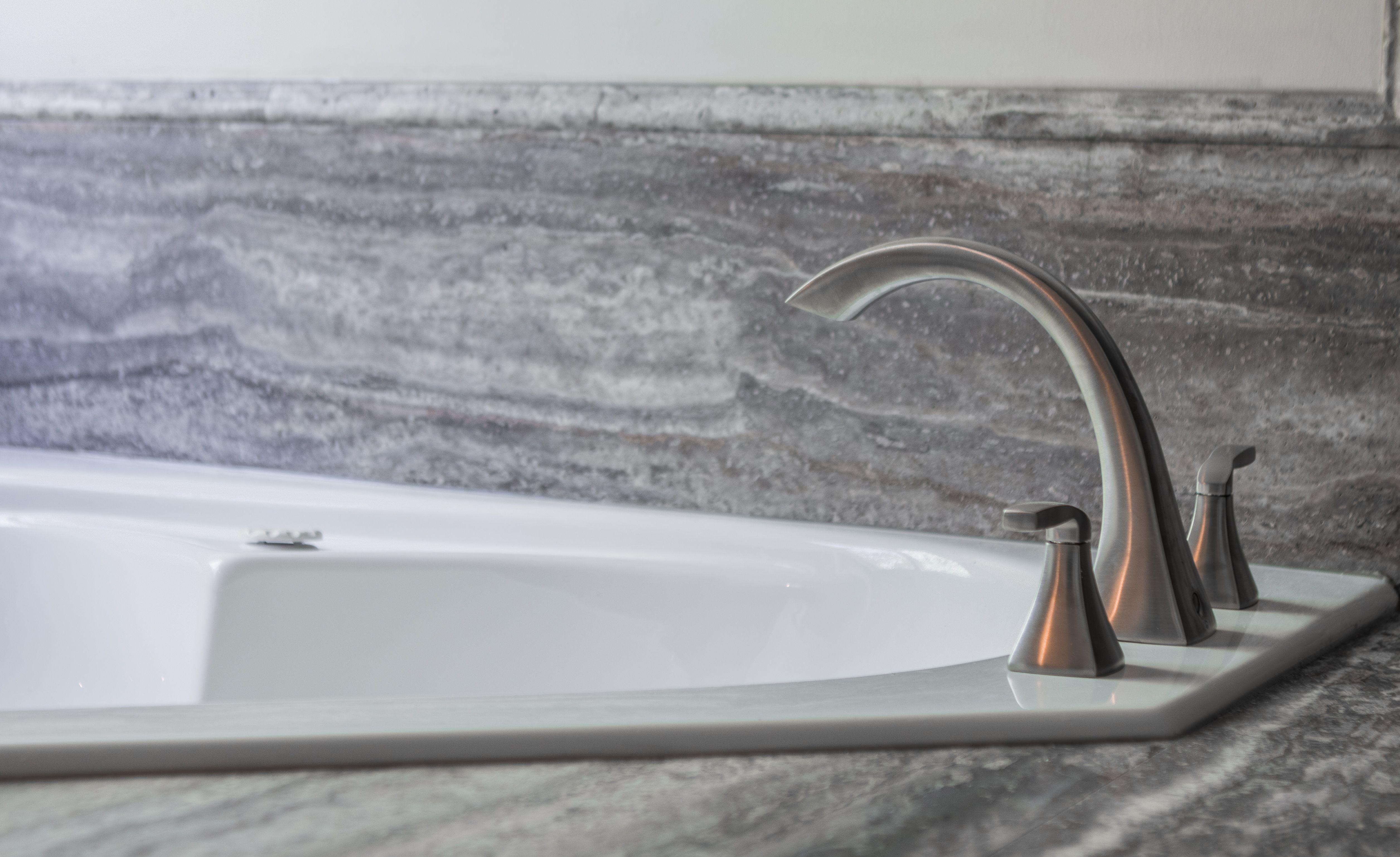 Jetted Soaking Tub With Natural Stone Slab Surround In Silver Vein Travertine Re Bath Durabath Natural Stone In Omaha Nebraska Bath Omaha Soaking Tub [ 3076 x 5022 Pixel ]