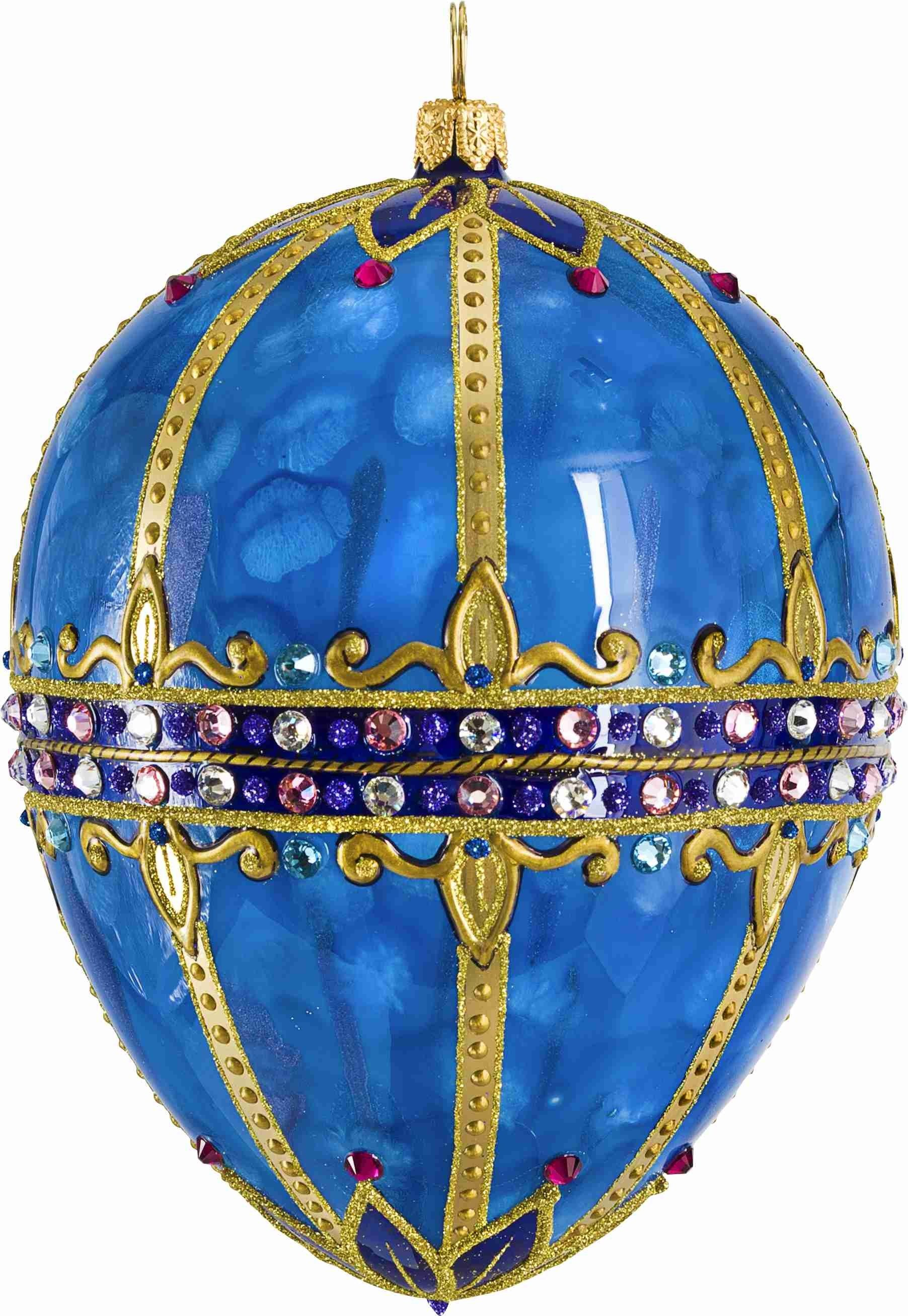 Glitterazzi Sapphire Jeweled Egg Ornament By Joy To The World Christmas  2017 Christmas Decorations