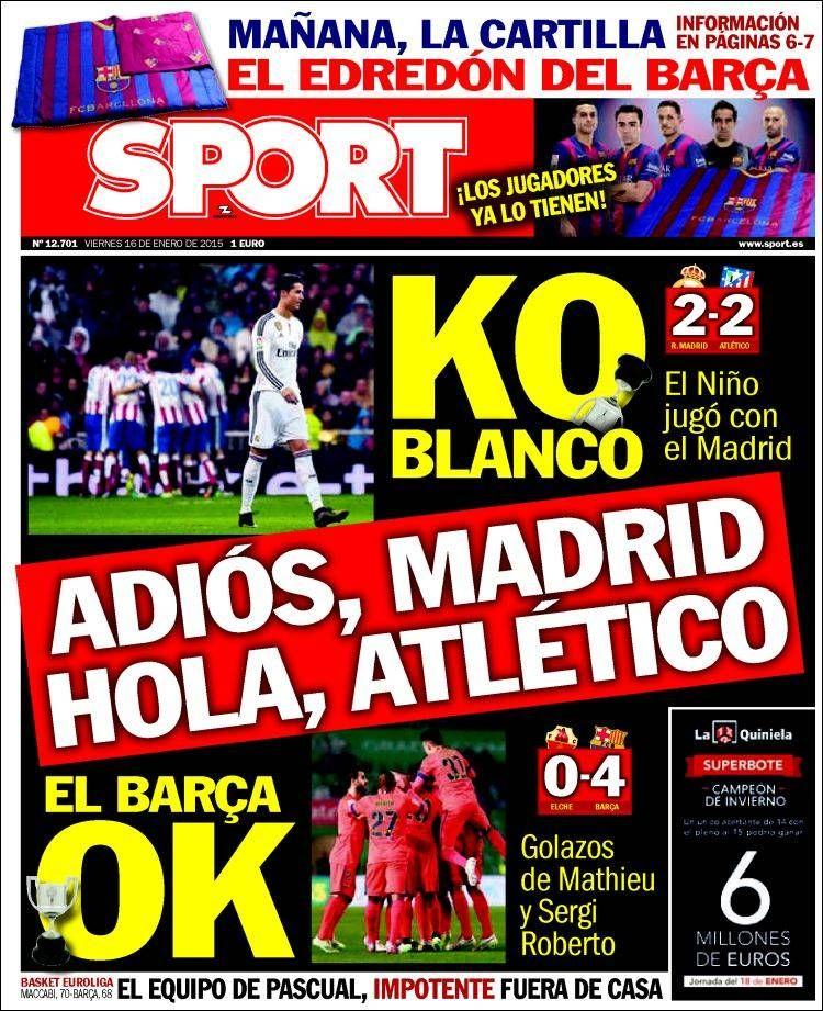 Portada Sport 16/1/2015 Atletico de madrid wallpapers