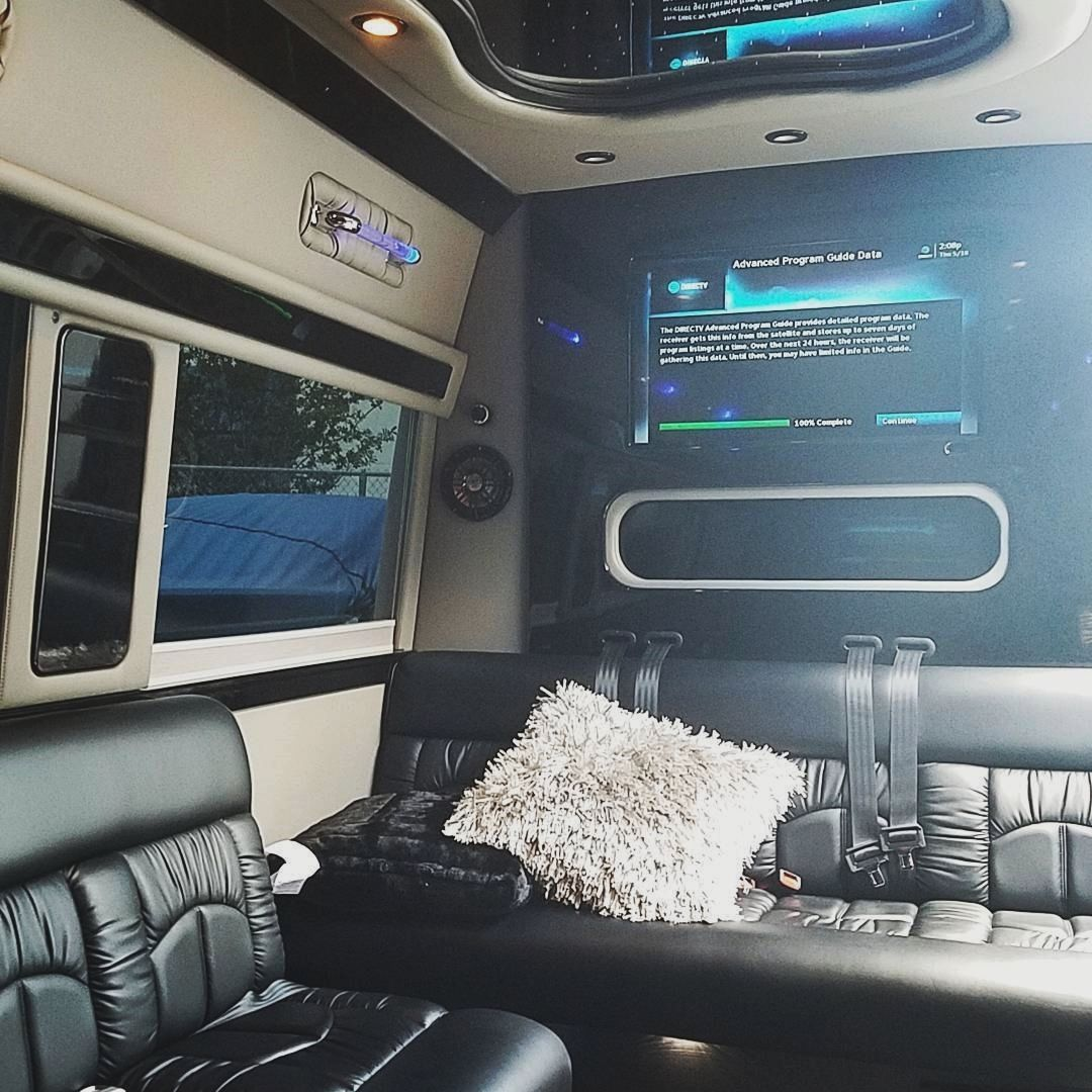 Added satellite tv to this #sprinter limo! Now they can