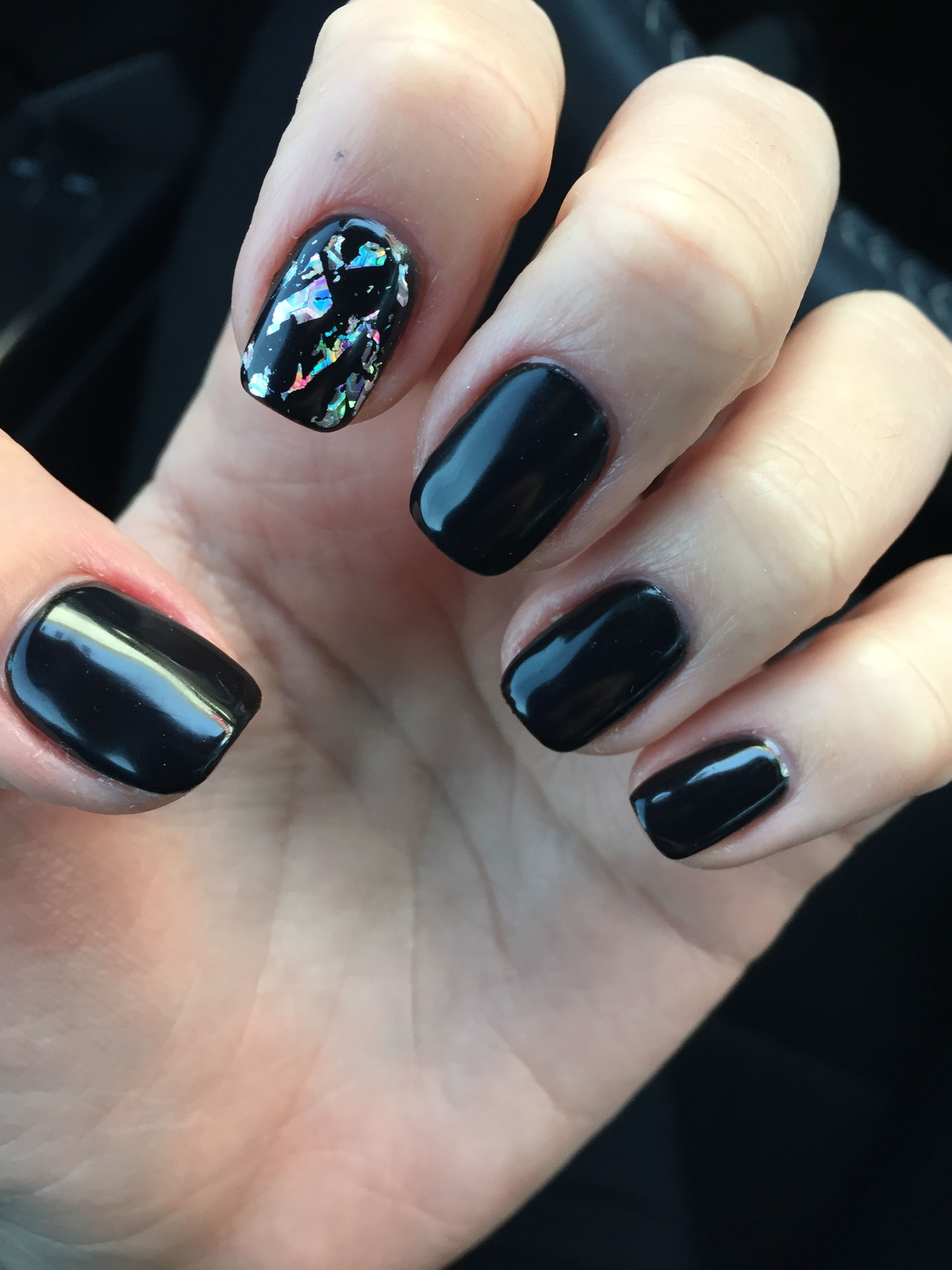 Black Gel Nails With One Silver Glitter Nail: Black Gel Nails With Silver Foil Accent Nail!