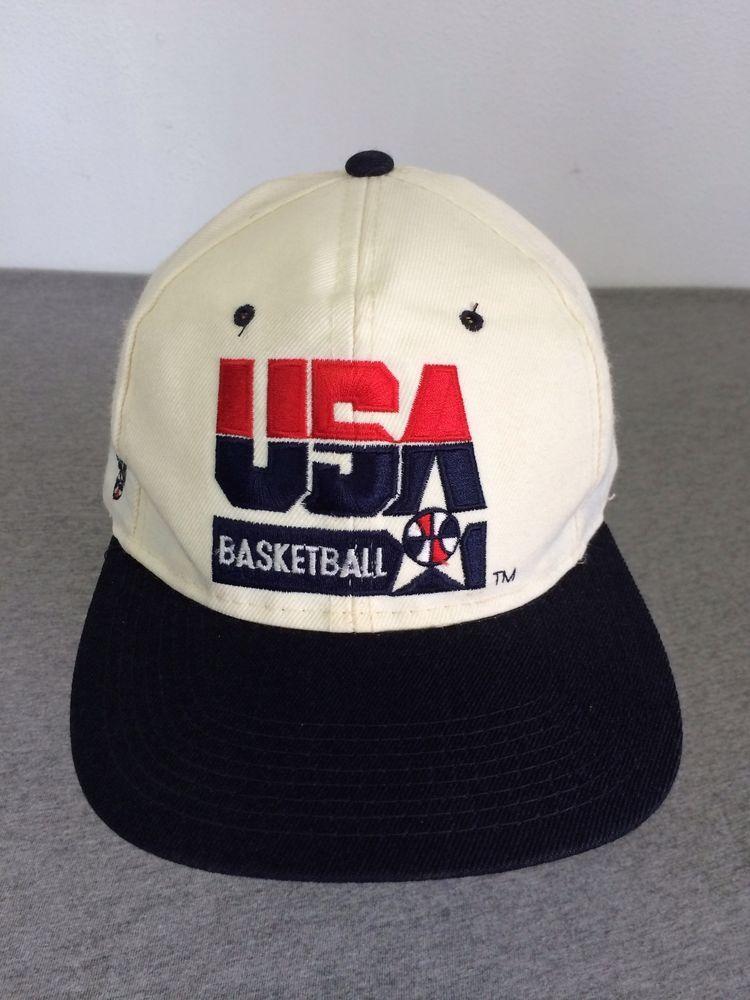 1a492430628 USA DREAM TEAM Snap Back Hat 90 s Vintage Basketball Adjustable  BaseballCap