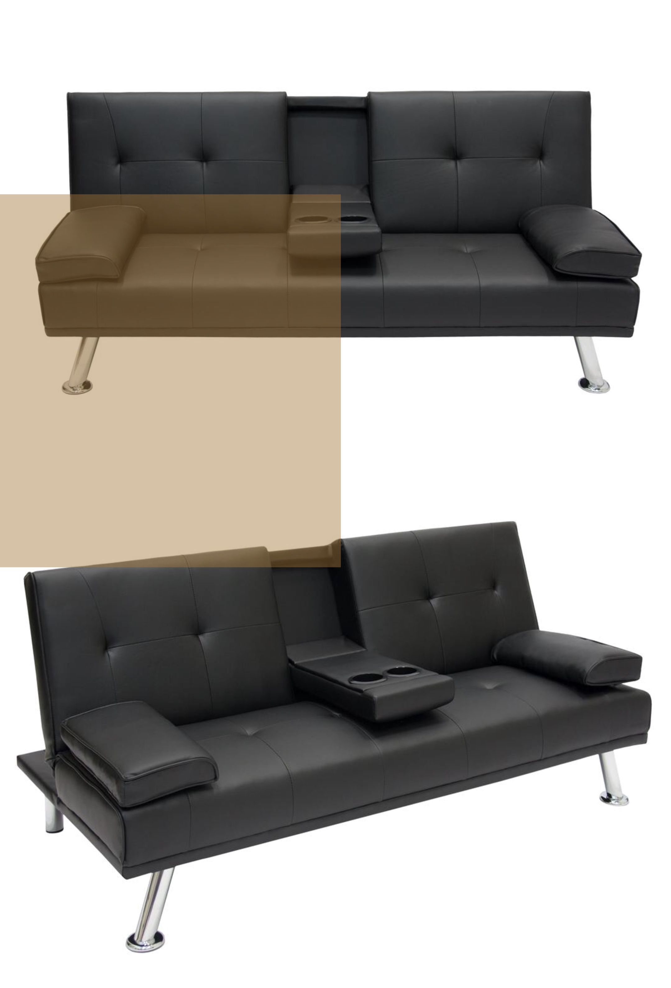 From Movie Night To Sleep Tight This Faux Leather Futon Is Ready For Anything With Built In Cupholders And Armrests That Double As Pill Leather Futon Black Futon Futon Sofa