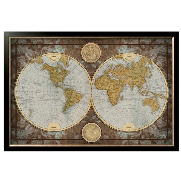 Art.Com Assorted World Map Framed Art Print ($282) ❤ liked on Polyvore featuring home, home decor, wall art, assorted, map wall art, map home decor and framed wall art