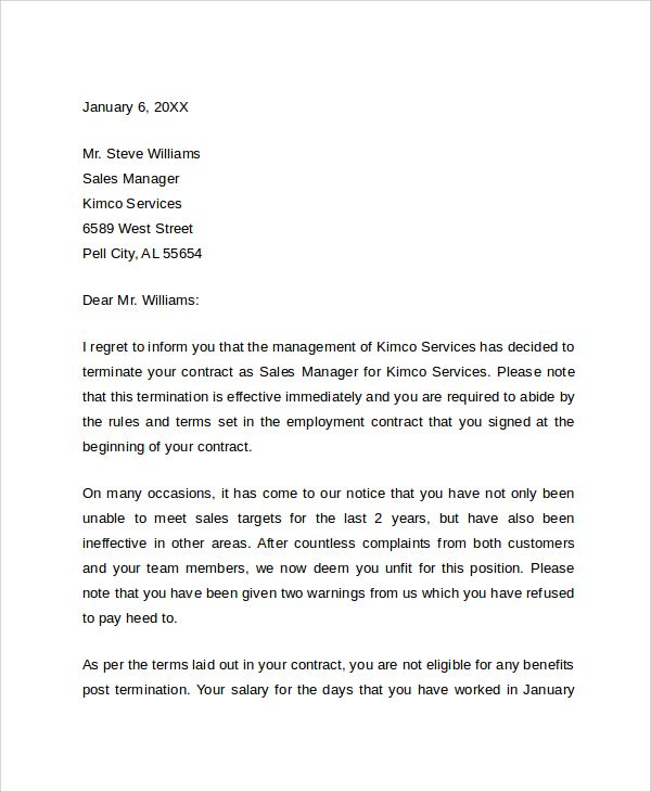sample job termination letter documents pdf word business examples