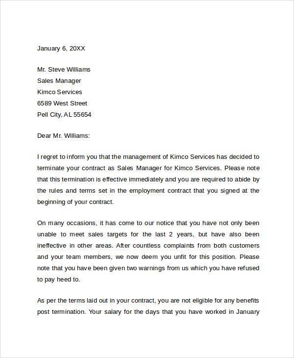 sample job termination letter documents pdf word business examples - sample termination letters