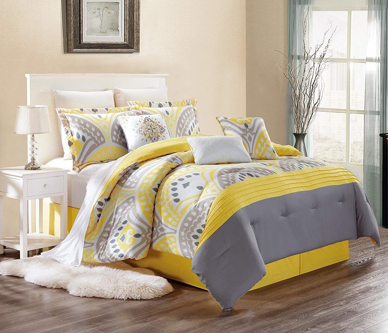 Modern 7 Piece Embroidered Cassandra Bedding Sunshine Yellow