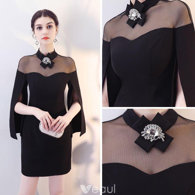 5e999cf8ef Sencillos Negro Transparentes Vestidos de noche 2018 Cuello Alto Único  Manga Larga Cortos Vestidos Formales