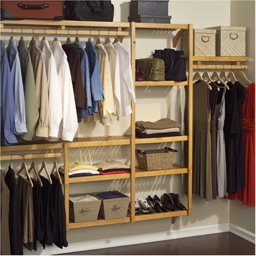 John Louis Home JLH 522 Standard 12 Inch Depth Closet Shelving System, Honey