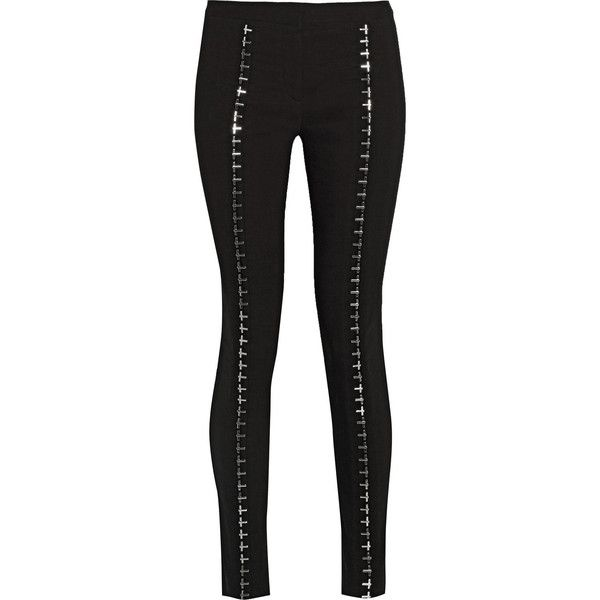 Versace Embellished linen-blend skinny pants ($779) ❤ liked on Polyvore featuring pants, black, embellished pants, black skinny leg pants, linen blend pants, black skinny trousers and versace pants