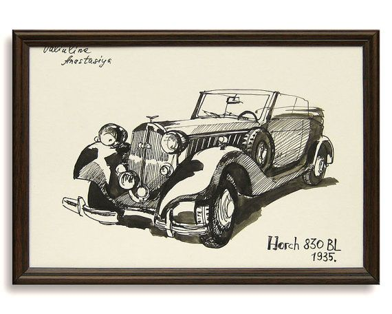 Classic Car Drawing Horch Bl Original By Valartgallery