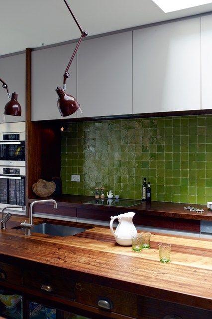 Green tiles in a reclaimed kitchen - Retrouvious - Kitchen Design Ideas (houseandgarden.co.uk)