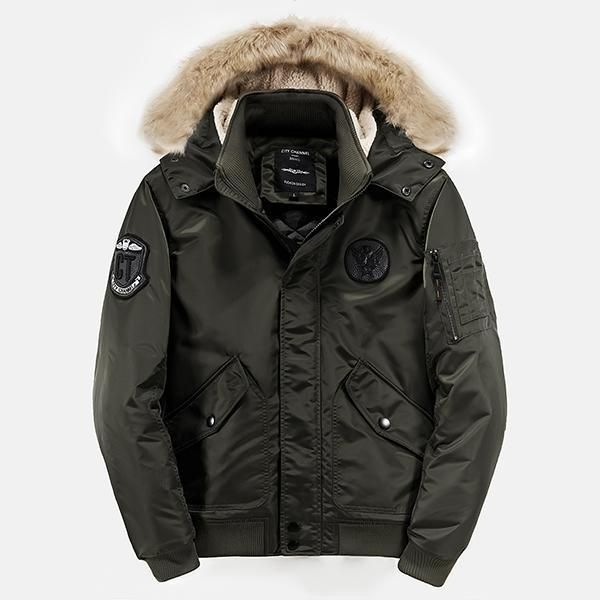 Mens Winter Plus Thick Warm Padded Hooded Outerwear Parka Jacket ...