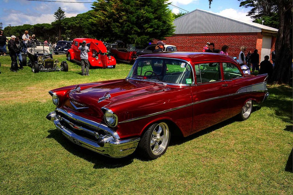 1957 chevy 2 door sedan candy apple red chevy red paint