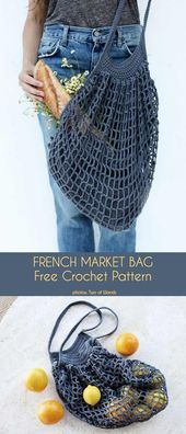 Photo of French Market Bag Kostenlose Häkelanleitung – Häkelideen – #Bag #Crochet #Fren …