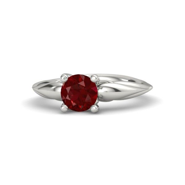 Round Ruby 14K White Gold Ring | Adora Knot Solitaire Ring | Gemvara
