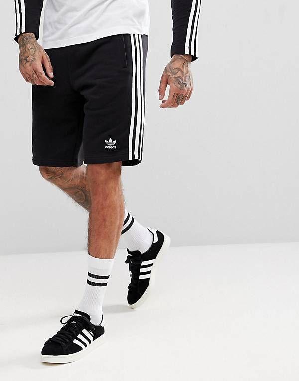 adidas originali adicolor 3 strisce pantaloncini in nero cw2980 sport