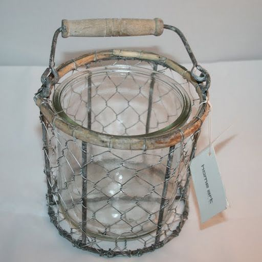 £6.50    Glass Lantern with Grey Detailing