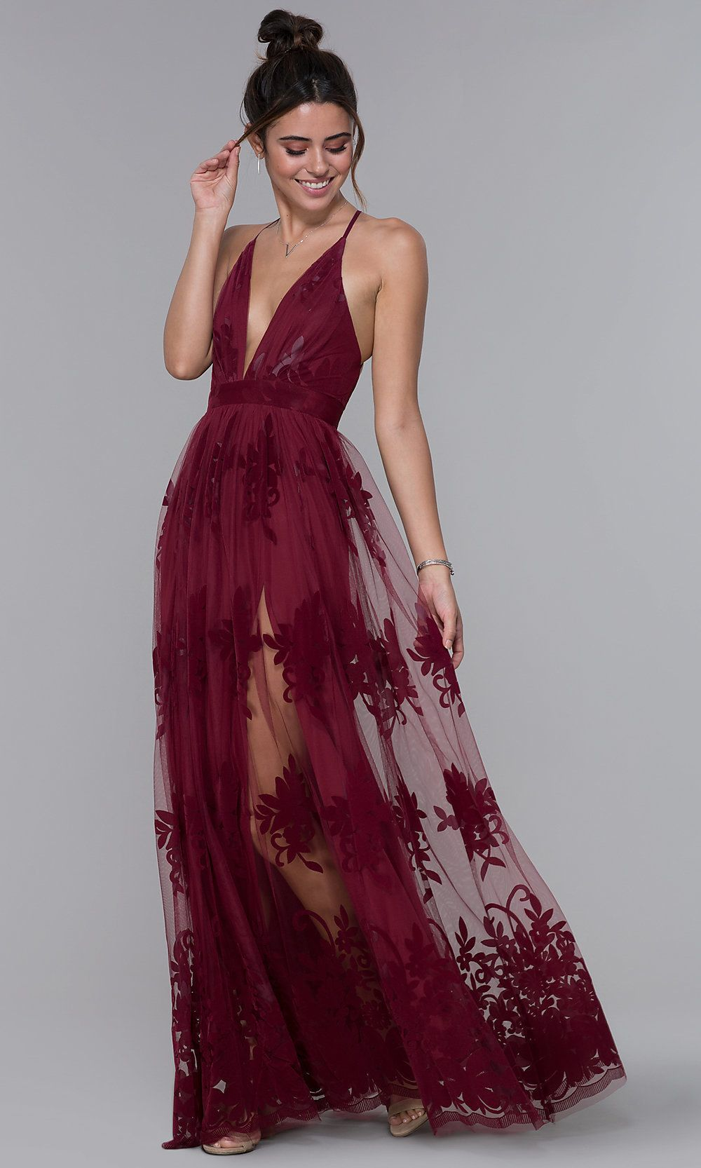 a08c9121a2 Long V-Neck Illusion Open-Back Dress with Print in 2019