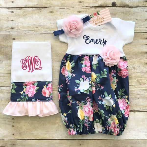 1c486c42c Shabby Roses Floral Baby Gown   Burp Cloth Set - Newborn Going Home ...