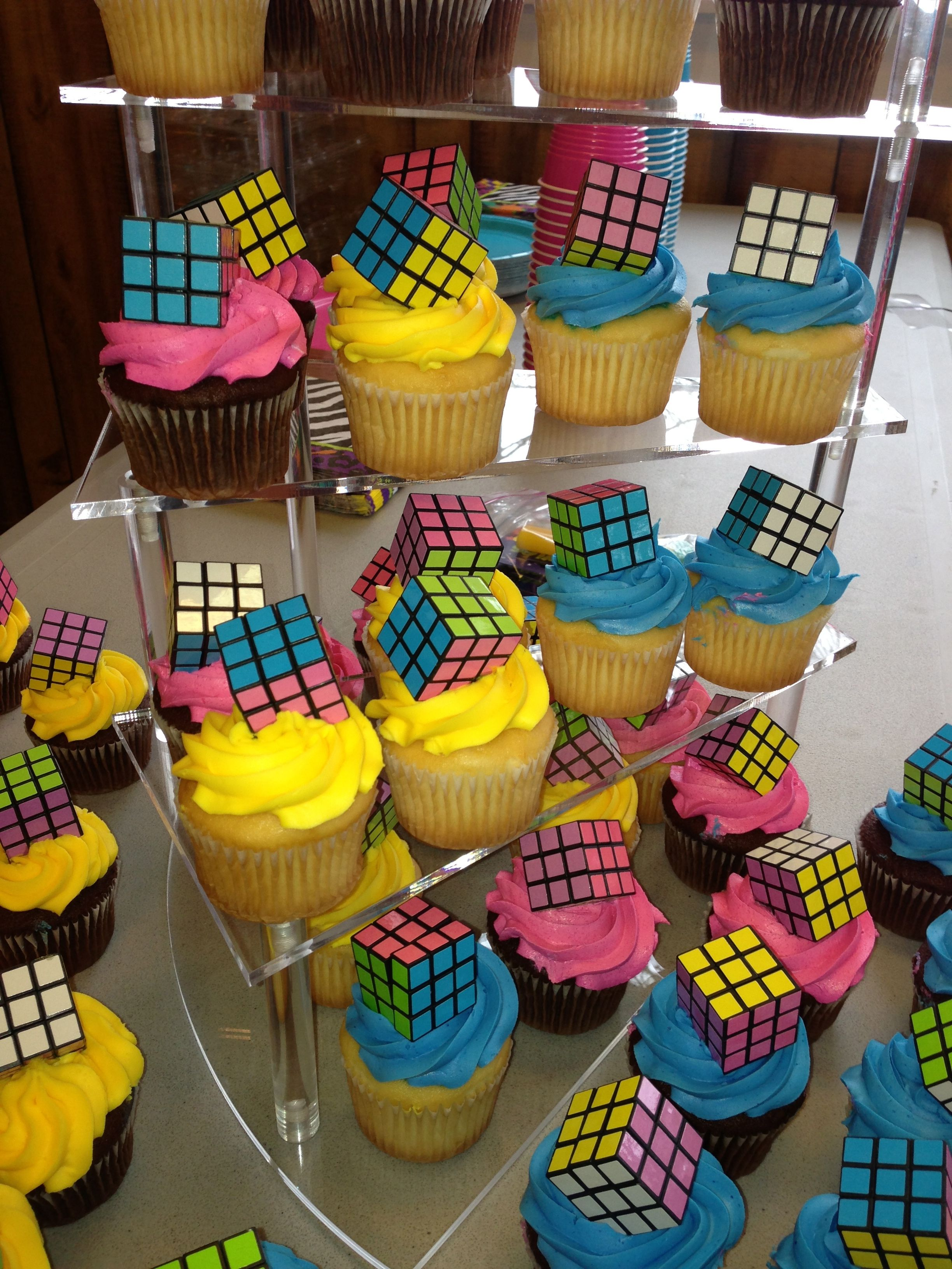 80's party. Cupcakes from grocery store. Rubiks from Oriental