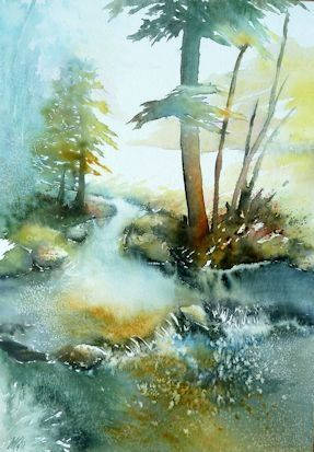 Petit Cours D Eau Paysage Aquarelle Art Aquarelle Et Peinture