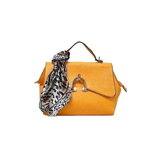 Designer Style Small Orange Handbag With Horse Shoe Buckle And Detachable Scarf A Shu