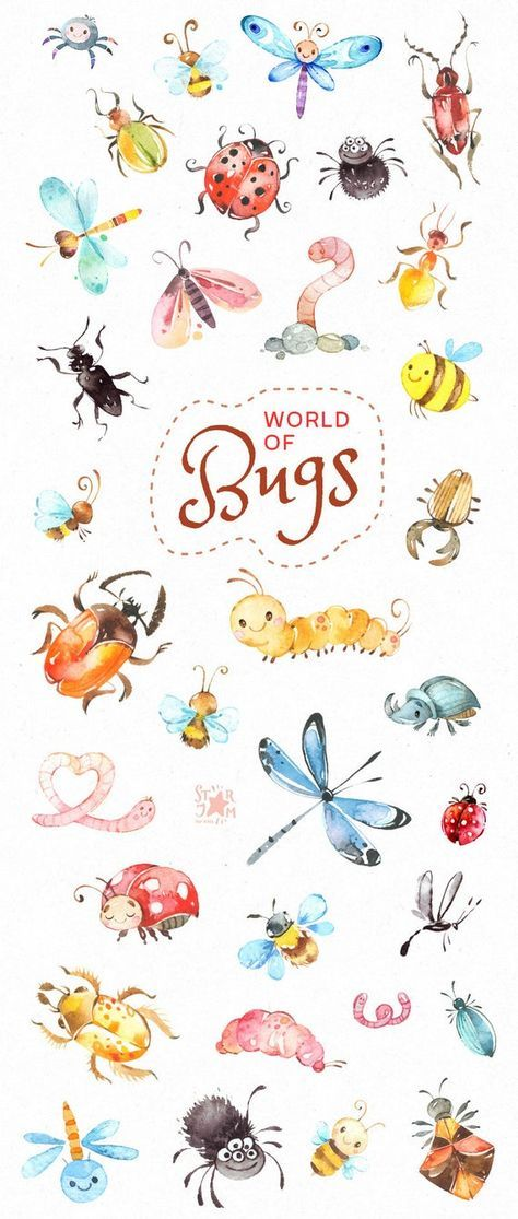 World of Bugs. Watercolor clipart, forest, insects, wild, beetle, caterpillar, dragonfly, worms, ladybug, ant, bee, spider, nature, invite