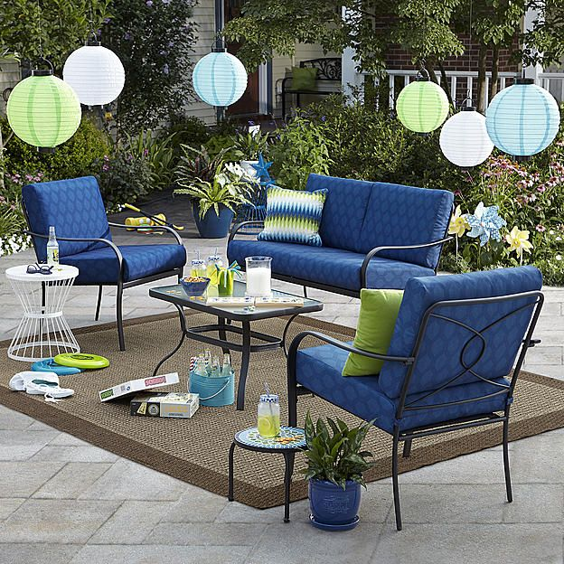 bailey 4 piece seating set blue