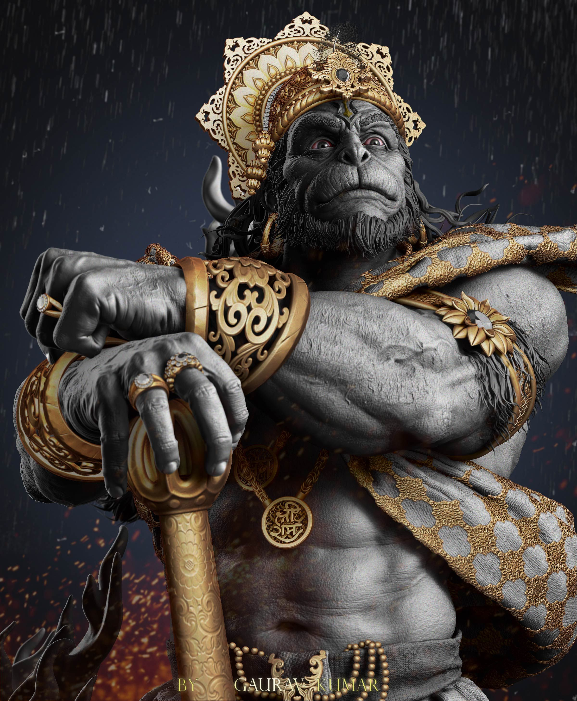Beeindruckender Hanuman Bahu Bali stehend 85cm 27kg Rama Krishna Shiva Ganesha