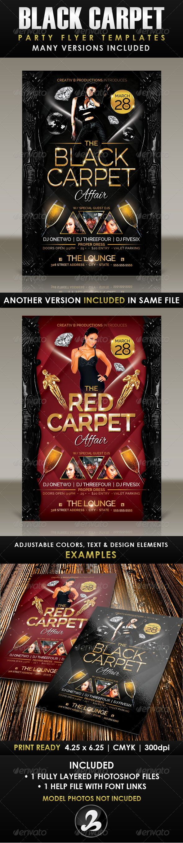 Black Carpet Party Flyer Template  Flyer Template Party Flyer