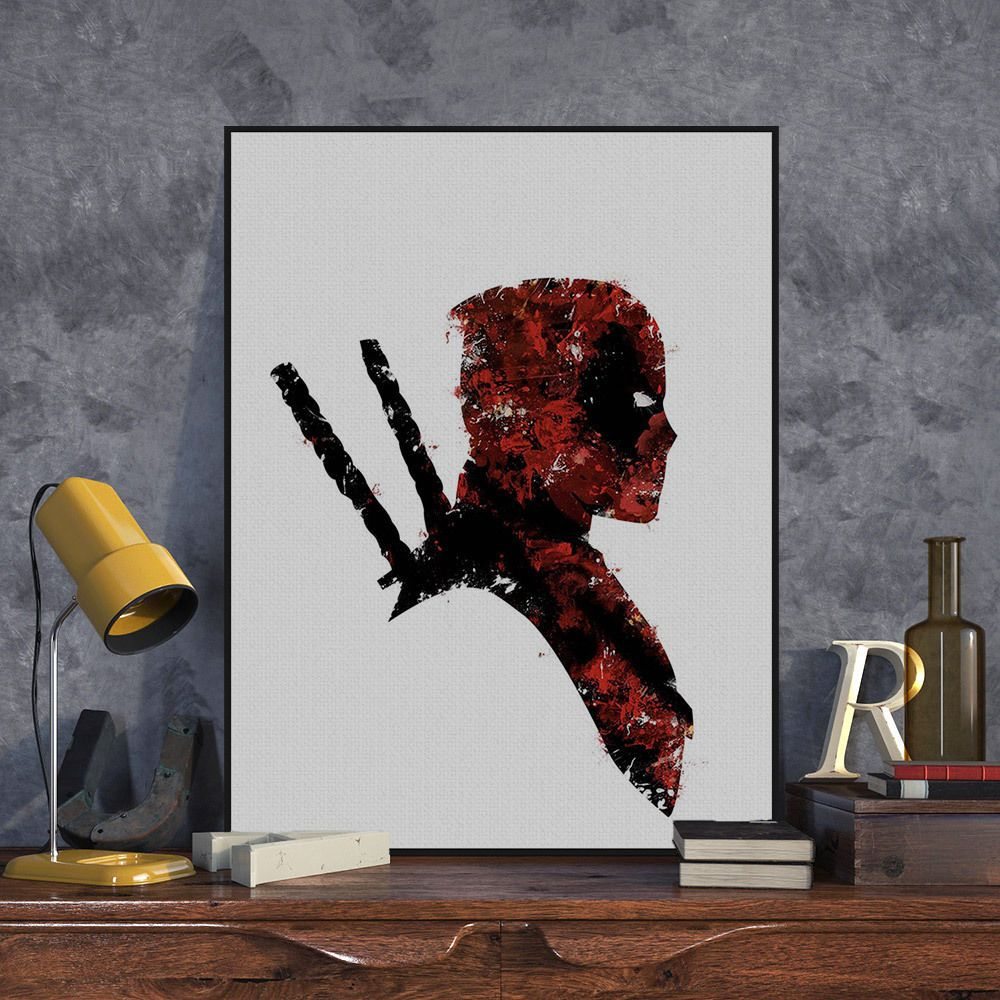 Watercolor superhero deadpool pop movie poster boy room deco canvas