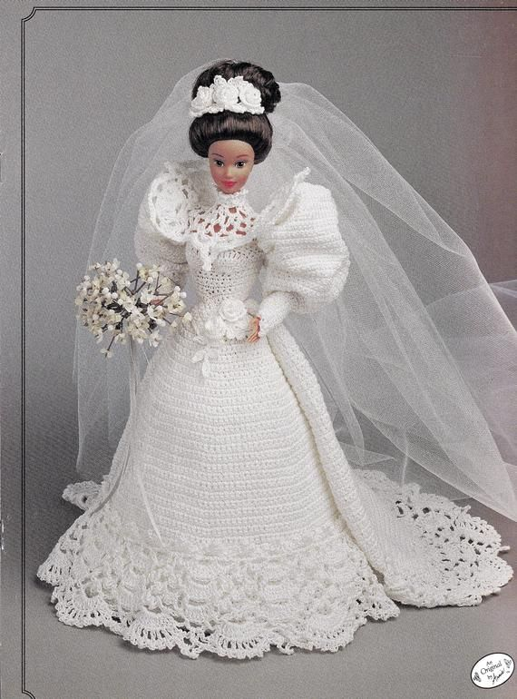 The Gibson Girl Bride Doll Gown, For 11 1/2 Inch Fashion Dolls, Balloon Sleeves, High Collar, 1890's Style Wedding Gown, Annie's Attic 1994 #bridedolls