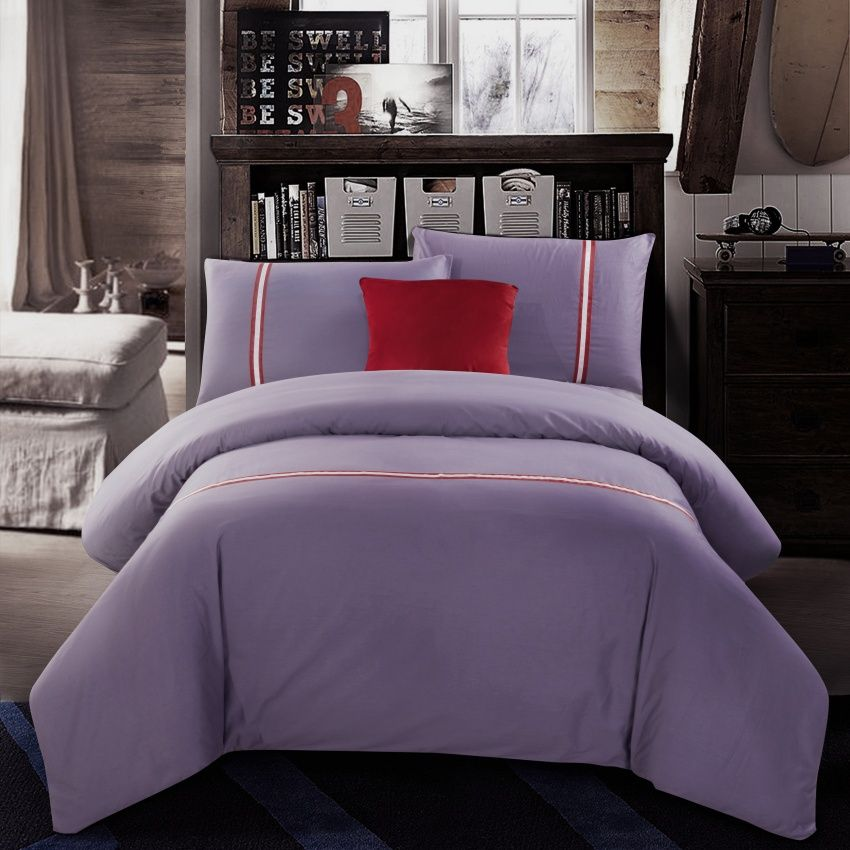 Best Selling Goods 100% Cotton Bedding Sets Light Purple Solid Printed 4pcs  Queen King Size
