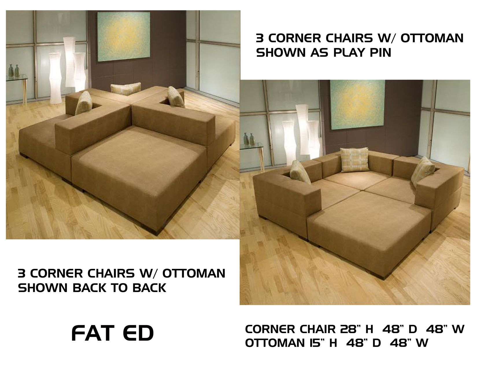 Amazing FAT ED PLAY PIN | Deep Movie Pit Couch Seating / Conversation Lounge With  Different Configurations