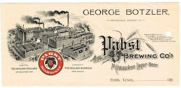 Letterhead Billhead George Botzler Pabst Brewery Depot Ennis Tx