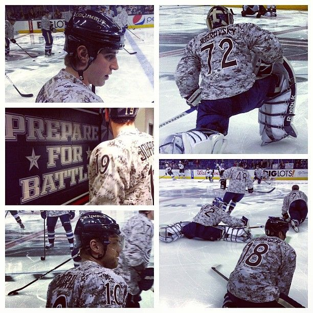 the latest 743c4 2b894 Warmup jerseys for #Military Appreciation Night. #CBJ ...