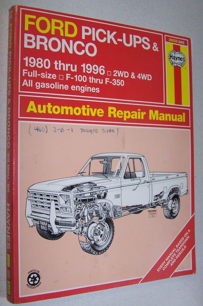 Haynes Ford Pick Ups Bronco 1980 1996 36058 Automotive Repair Manual Automotive Repair Repair Manuals Auto Repair