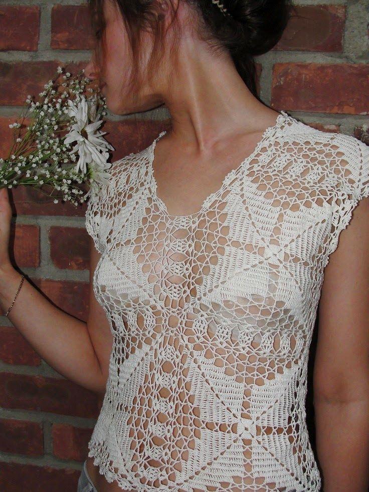 crochelinhasagulhas: Blusa branca em square em crochê