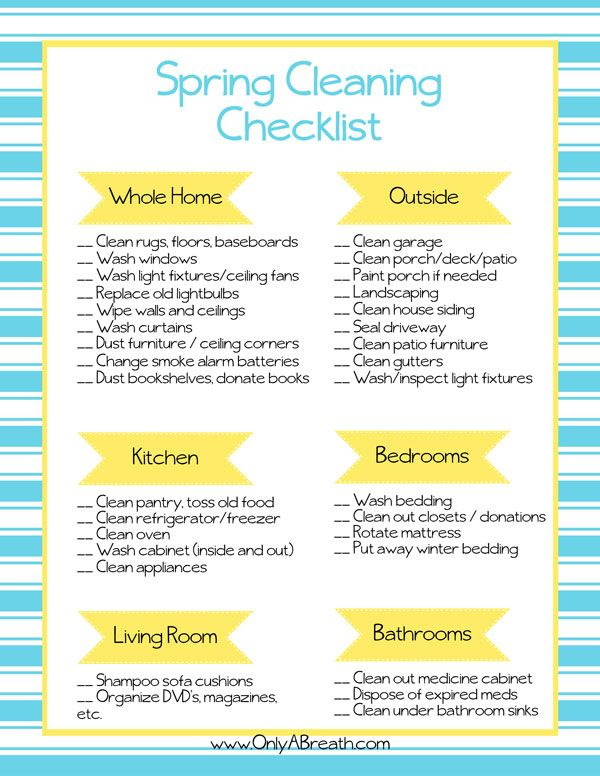 Printable Cleaning Checklists | Cleaning checklist, Cleaning and ...