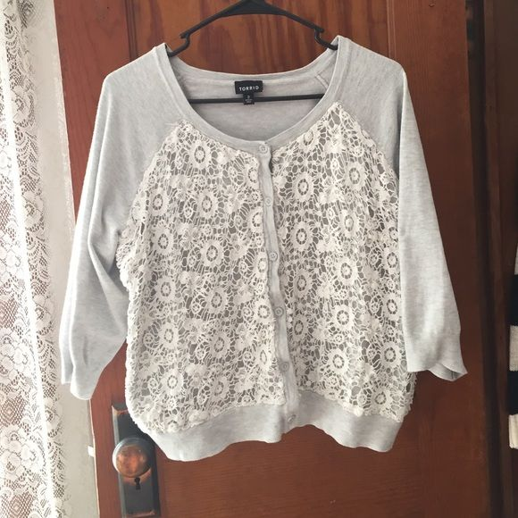 Torrid gray and cream lace cardigan Cute lightweight gray cardigan ...