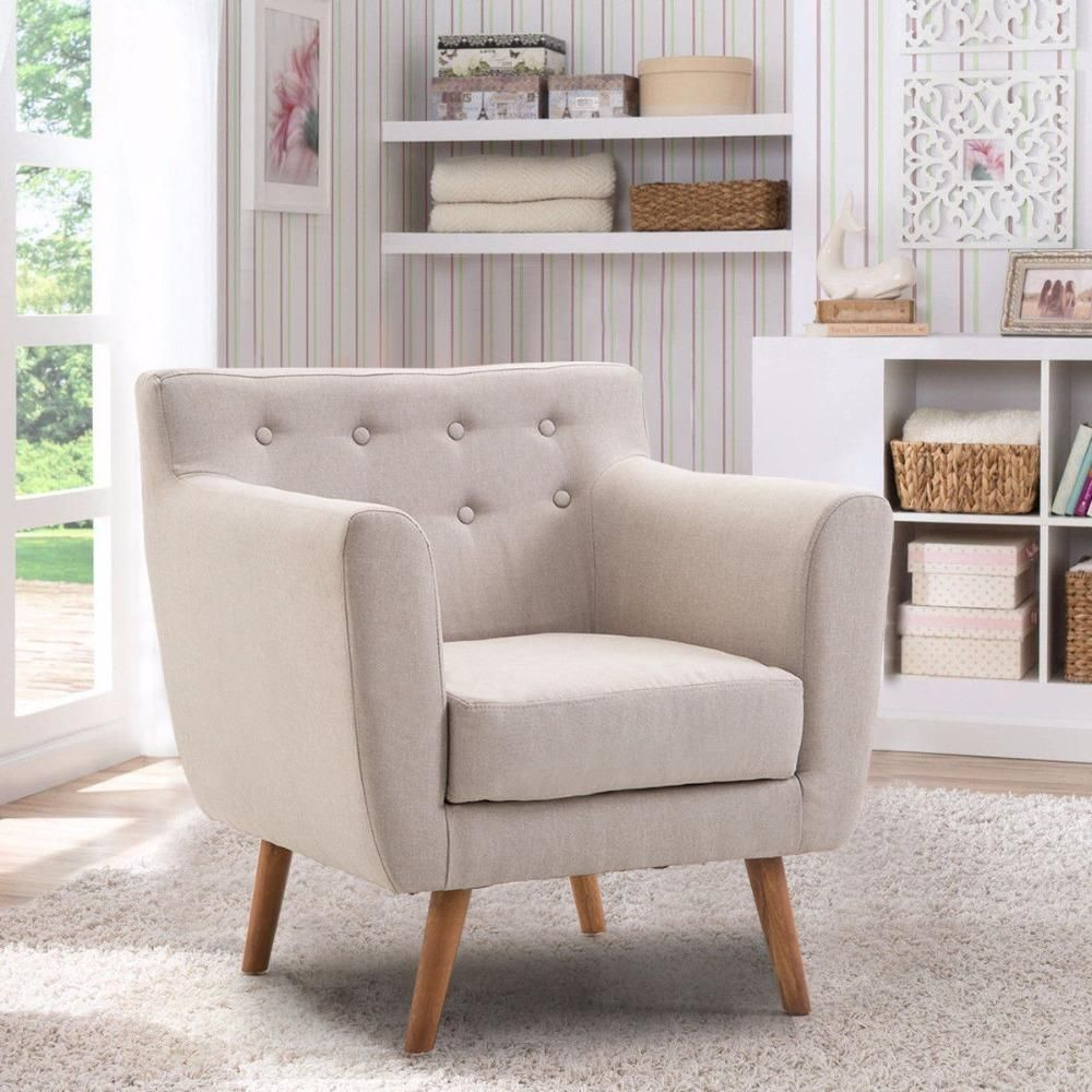 Giantex Living Room Arm Chair Tufted Back Fabric Upholstered