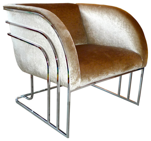milo baughman chrome art deco club chair - Club Chair