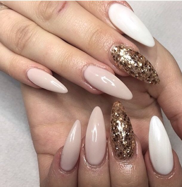 Gold nude and white stiletto nails