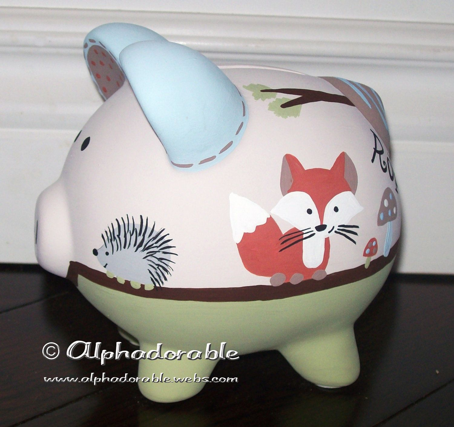 Custom hand painted ceramic personalized piggy bank forest friends by carter 39 s design small 5 - Ceramic piggy banks for boys ...