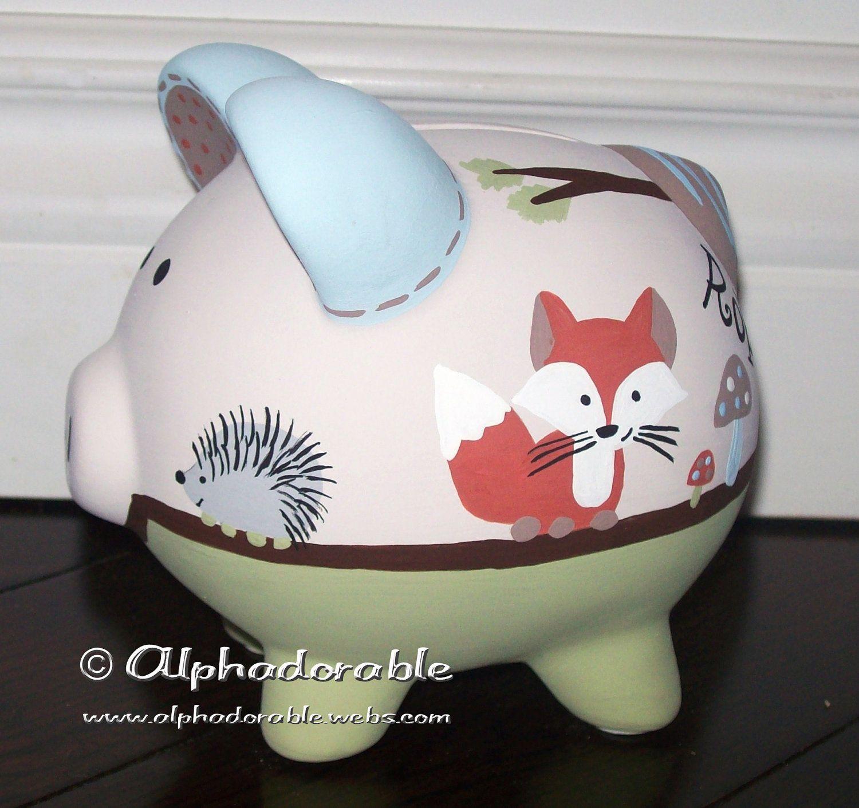 Custom hand painted ceramic personalized piggy bank for How to paint a ceramic piggy bank
