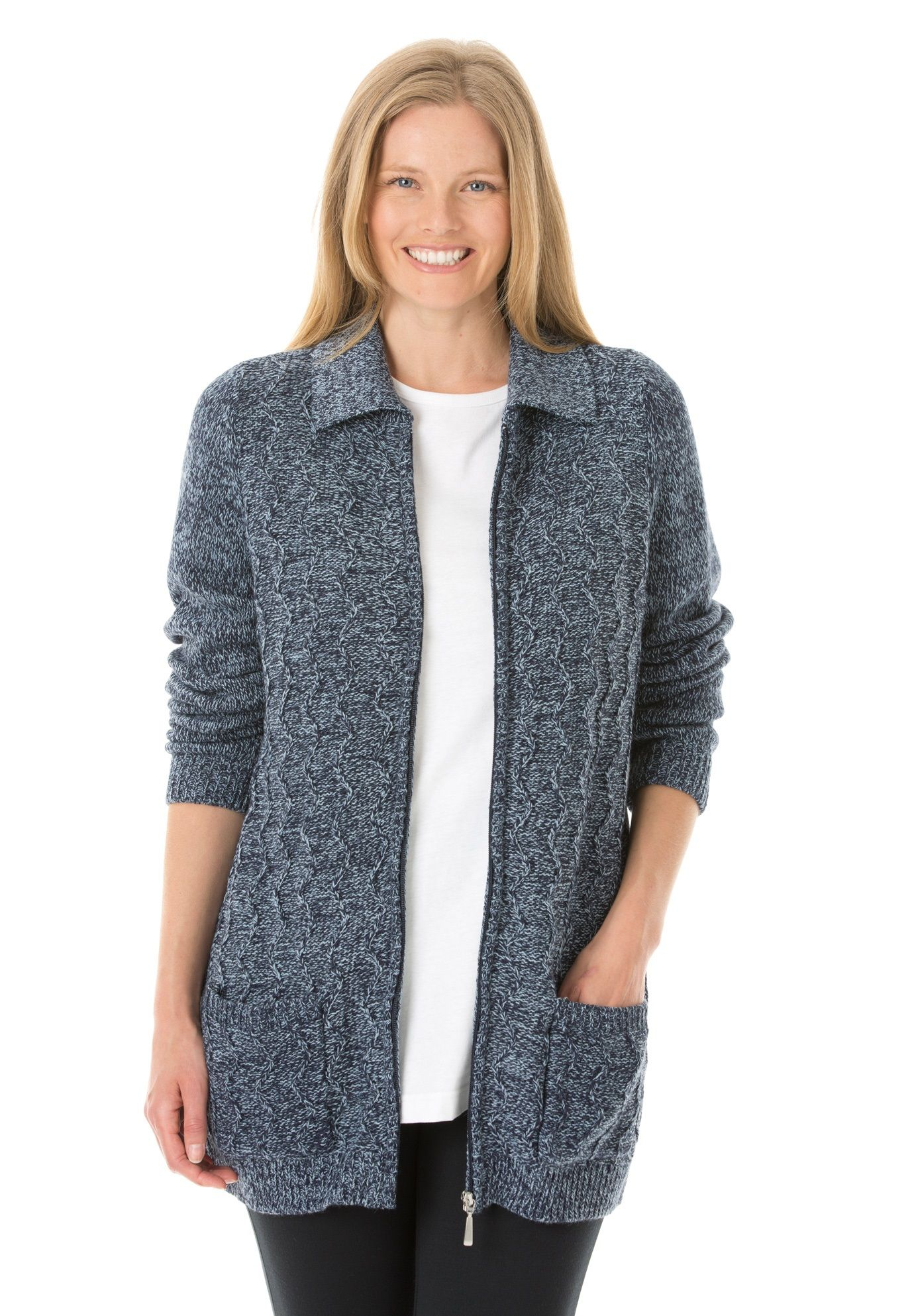 3b38db5f7bd This cozy plus size zip cable knit cardigan has a great marled look ...