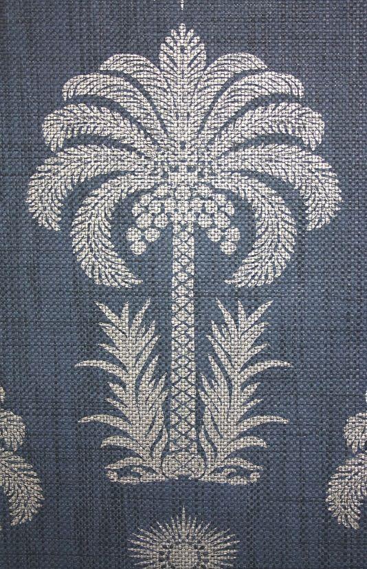 Palm Springs Raffia Wallpaper Navy wallpaper, Wallpaper