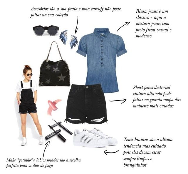 Never too old for a black denim!  by sarahbsm on Polyvore featuring moda, Current/Elliott, Topshop, ASOS, adidas, STELLA McCARTNEY, Juliet & Company, Le Specs, Elizabeth Arden and shorts